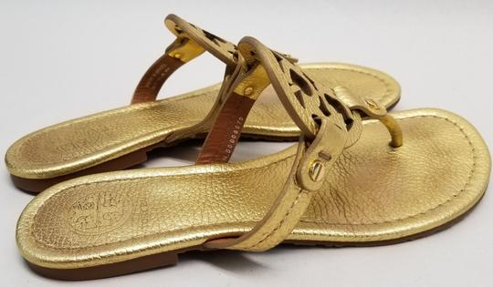 Tory Burch Flip Flops Logo Cutout Leather Made In Brazil S/N 50008679 Gold Metallic Sandals Image 3