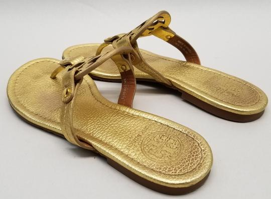 Tory Burch Flip Flops Logo Cutout Leather Made In Brazil S/N 50008679 Gold Metallic Sandals Image 4