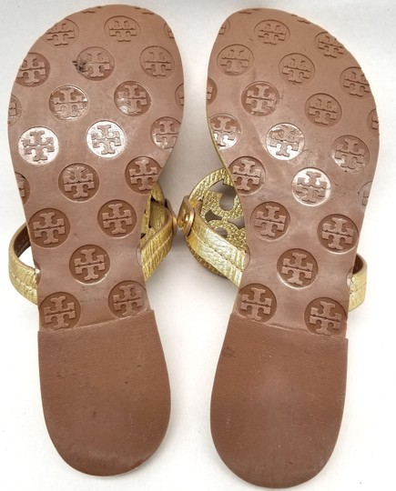 Tory Burch Flip Flops Logo Cutout Leather Made In Brazil S/N 50008679 Gold Metallic Sandals Image 5