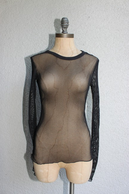 Out From Under Mesh Sheer Urban Knit T Shirt black Image 2