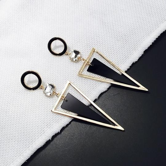 Other Exaggerated Crystal Triangle long Earrings Image 2