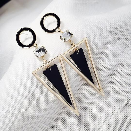 Other Exaggerated Crystal Triangle long Earrings Image 3