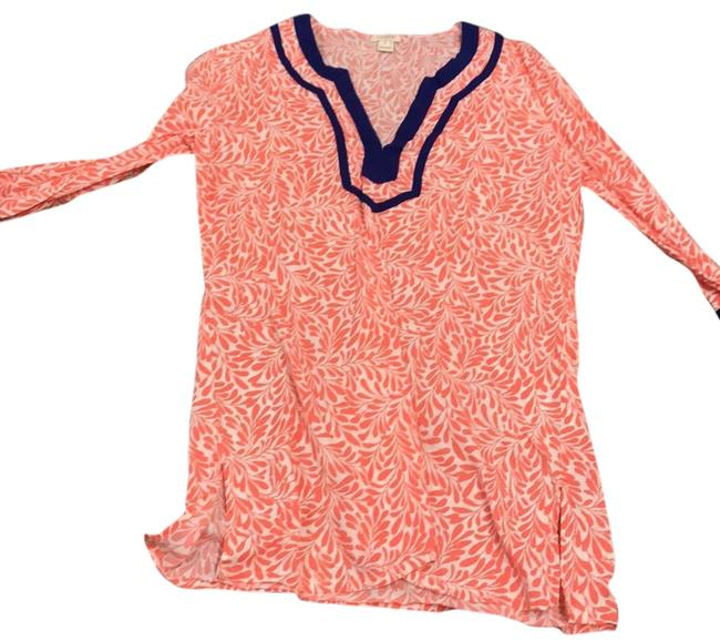 Item - Coral White and Royal Blue Cover-up/Sarong Size 4 (S)