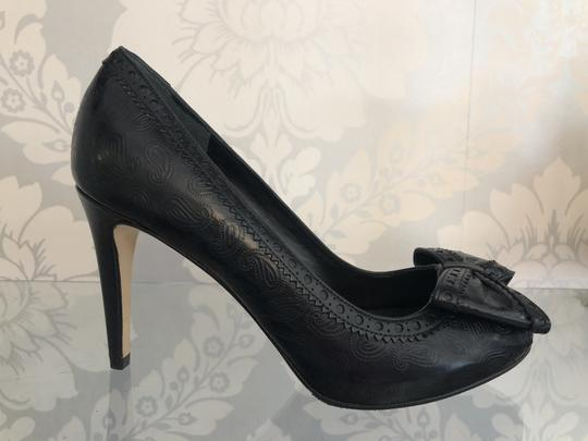 Cole Haan Paisley Leather Bow Western Non Slip Black Pumps Image 1