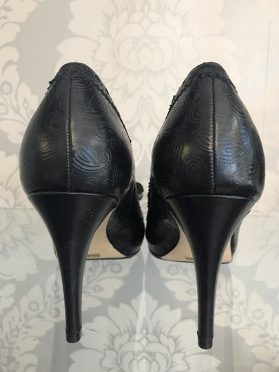 Cole Haan Paisley Leather Bow Western Non Slip Black Pumps Image 2