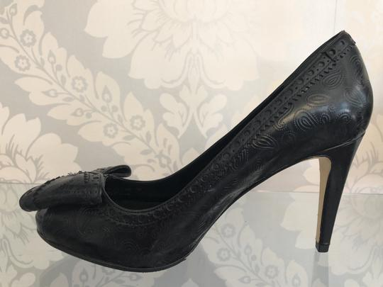 Cole Haan Paisley Leather Bow Western Non Slip Black Pumps Image 3