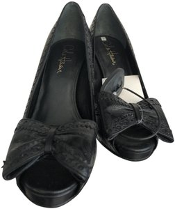 Cole Haan Paisley Leather Bow Western Non Slip Black Pumps