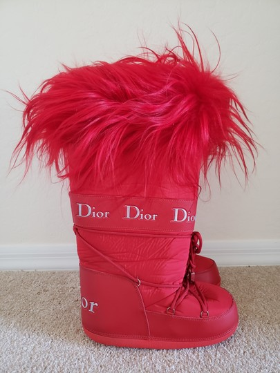 Dior Diorissimo Monogram Logo Embroidered Red Boots Image 1