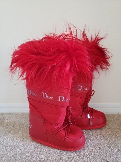 Dior Diorissimo Monogram Logo Embroidered Red Boots Image 3