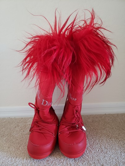 Dior Diorissimo Monogram Logo Embroidered Red Boots Image 4