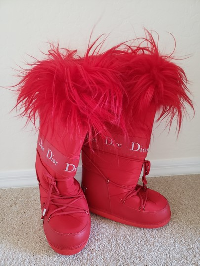 Dior Diorissimo Monogram Logo Embroidered Red Boots Image 5
