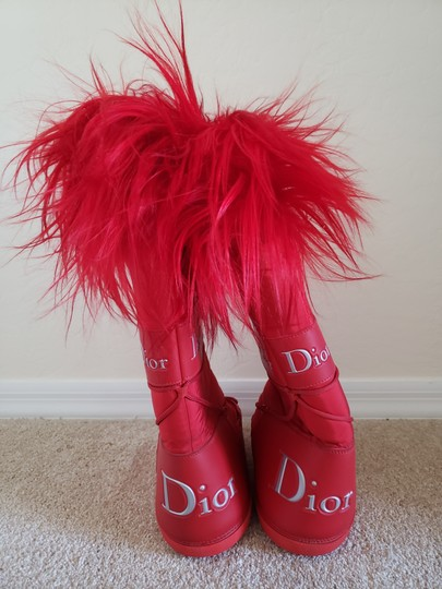 Dior Diorissimo Monogram Logo Embroidered Red Boots Image 7