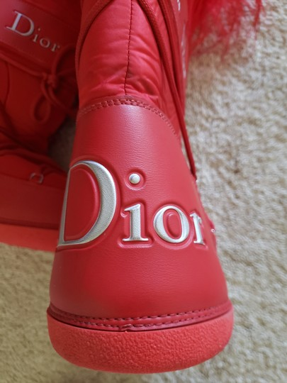 Dior Diorissimo Monogram Logo Embroidered Red Boots Image 8