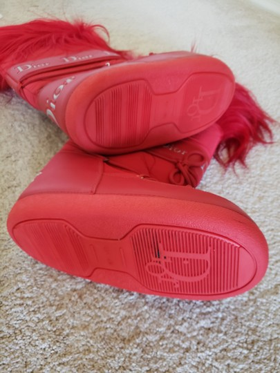 Dior Diorissimo Monogram Logo Embroidered Red Boots Image 9