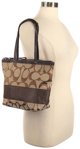 Coach Leather Shoulder Signature Logo Satchel Tote in Brown/Tan