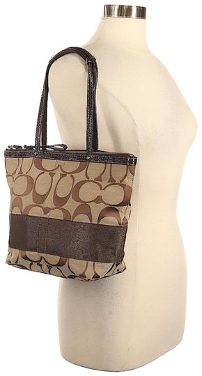 Coach Leather Shoulder Signature Logo Satchel Tote in Brown/Tan Image 0