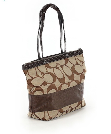 Coach Leather Shoulder Signature Logo Satchel Tote in Brown/Tan Image 2