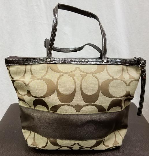 Coach Leather Shoulder Signature Logo Satchel Tote in Brown/Tan Image 3