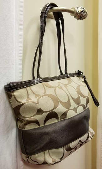 Coach Leather Shoulder Signature Logo Satchel Tote in Brown/Tan Image 6