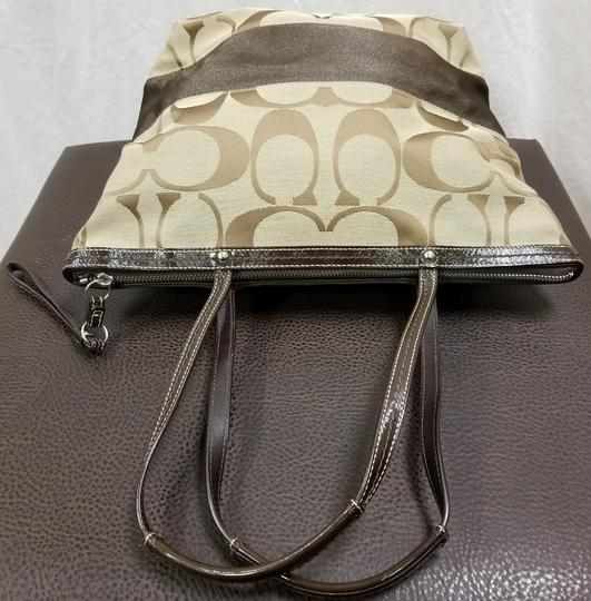 Coach Leather Shoulder Signature Logo Satchel Tote in Brown/Tan Image 7