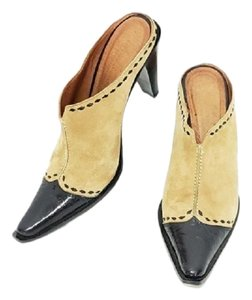 Donald J. Pliner Tan and Black Mules