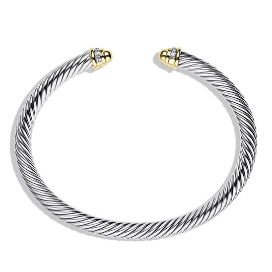 David Yurman ELEGANT!! LIKE NEW CONDITION!!! David Yurman 18 Karat Yellow Gold, Sterling Silver and Diamond Cable Cuff Bracelet Image 4