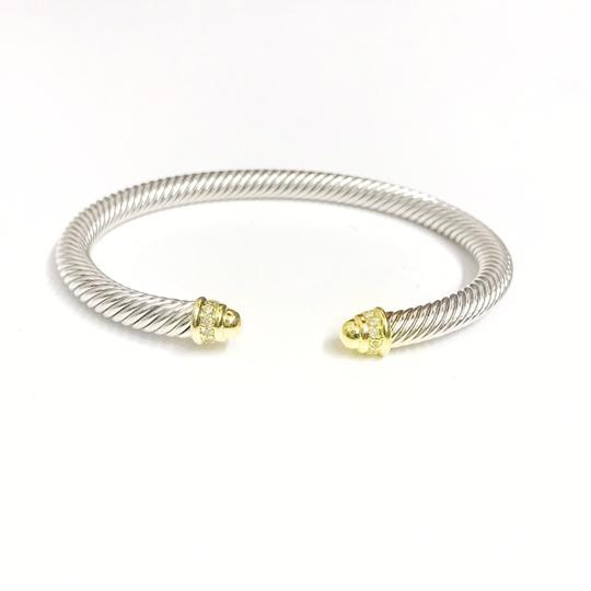 David Yurman ELEGANT!! LIKE NEW CONDITION!!! David Yurman 18 Karat Yellow Gold, Sterling Silver and Diamond Cable Cuff Bracelet Image 5