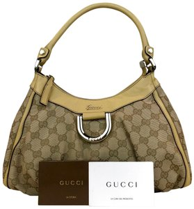 Gucci Yellow Gg Web D Ring Hobo Bag
