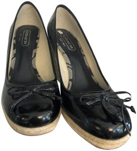 Coach Patent Bows Espadrille Black Wedges