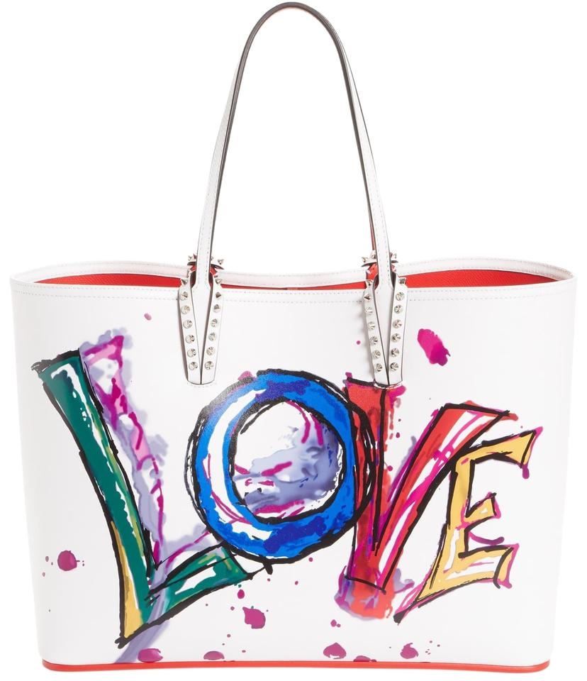 8b98d7273b5 Christian Louboutin Cabata Paris Love Embellished White Leather with  Synthetic Trim Tote