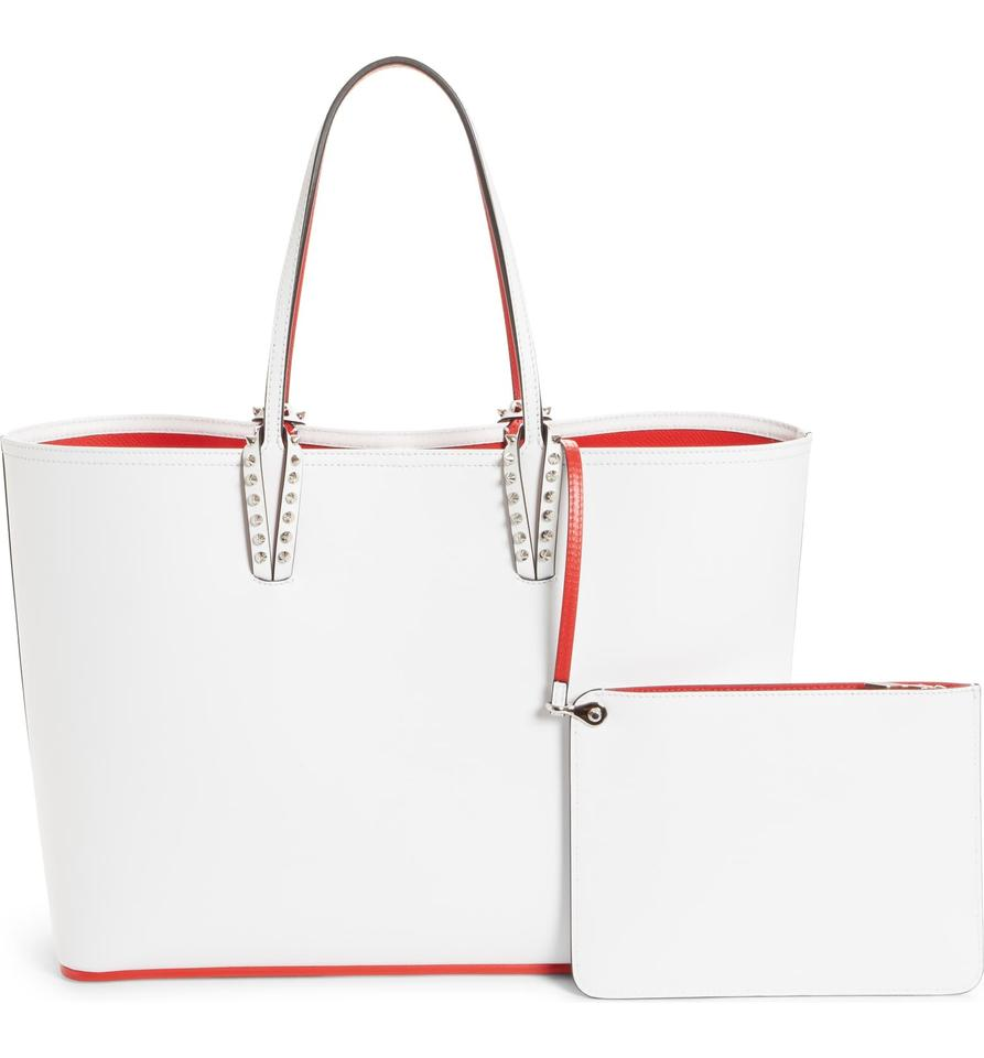 24d9386b141 Christian Louboutin Cabata Paris Love Embellished White Leather with  Synthetic Trim Tote