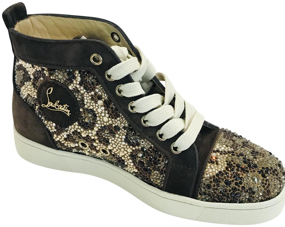 c4c64d85f25 Christian Louboutin Brown Crystal Leopard Pattern Women High-top Sneakers  Size EU 35 (Approx. US 5) Regular (M, B) 63% off retail