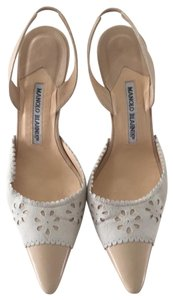 Manolo Blahnik cream suede details with light taupe toe, sling back and heal Pumps