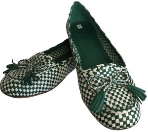 Tory Burch Braided Leather Bows Loafers Everyday Green Flats