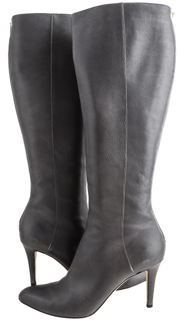 Item - Grey Grainy Leather Knee Length Boots/Booties Size US 10.5 Regular (M, B)
