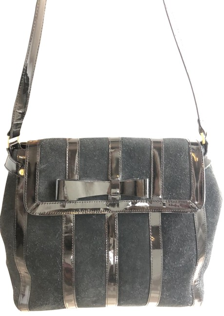 Item - Bow Black Patent Leather and Suede Satchel