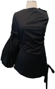 Monse Ruched One Sleeve One Off Shoulder Chic Musthave Top Black