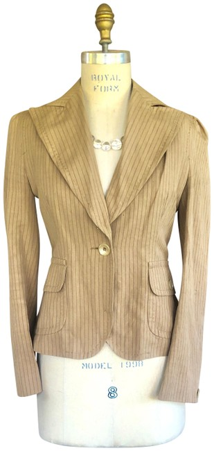 Banana Republic Tan Pinstriped Blazer Jacket Size 8 (M) Banana Republic Tan Pinstriped Blazer Jacket Size 8 (M) Image 1