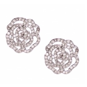 Kate Spade Kate Spade Silver Crystal Rose Earrings