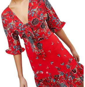 AX Paris Floral Tie Parisian Flutter Sleeves Dress