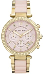 Michael Kors Women's Parker Pink Acetate and Gold-Tone Watch