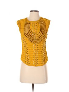 Balmain Braided Embroidered Top Yellow Gold