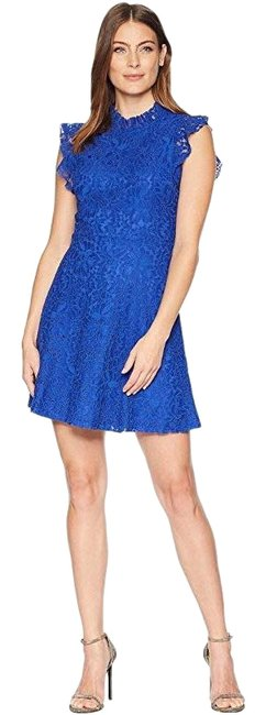 Alexia Admor Blue Colbot Blue Navy Ruffle Sleeve Lace Fit