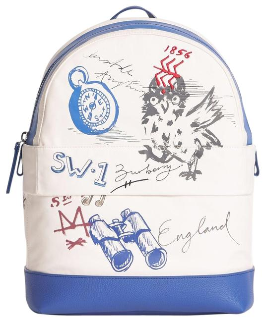 Burberry Adventure Print Blue Canvas Backpack Burberry Adventure Print Blue Canvas Backpack Image 1