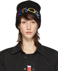 Versace Black Versace Rainbow logo embellished knit hat