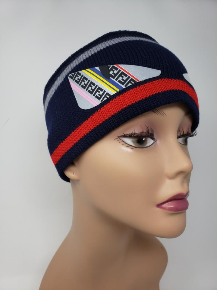 a60db4297 Fendi Multicolor Navy Red Wool 'bag Bugs' Headband Hat 41% off retail