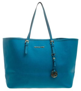 Michael Kors Leather Canvas Tote in Blue