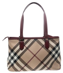 Burberry Patent Leather Tote in Beige