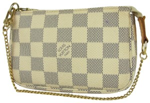 Louis Vuitton Pochette Accessory Pouch N58010 Damier Canvas Satchel in White/Blue