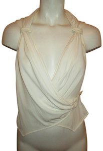 Armani Collezioni Sleeveless Crepe Silk Wrap Onm001 Top ivory